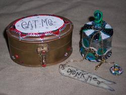 Art: Eat Me and Drink Me Alice in wonderland box and bottle by Artist Emily J White