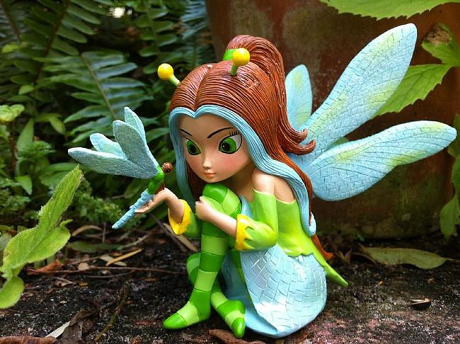 Art: Dazzling as a Dragonfly - STATUE with Bradford Exchange by Artist Jasmine Ann Becket-Griffith