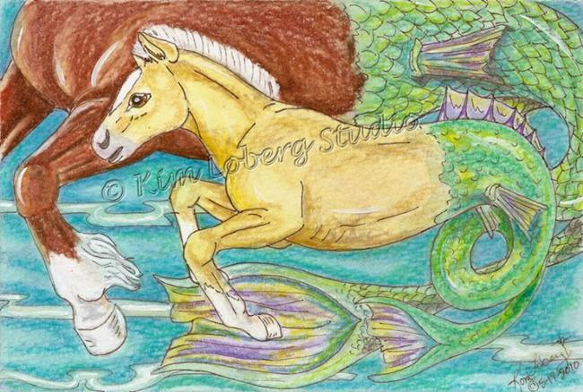 Art: Keeping Up With Mom - Palomino Hippocampus by Artist Kim Loberg