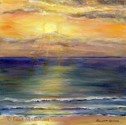 Art: Sunrise over Marcoola Beach by Artist Janet M Graham