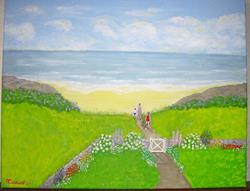 Art: Private Beach (SOLD) by Artist Fran Caldwell