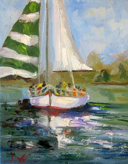 Art: Christmas Sail Boat by Artist Delilah Smith