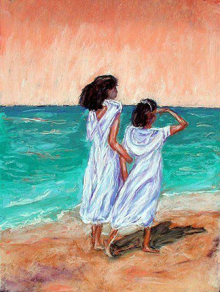 Art: Girls Looking out to Sea by Artist Shoshana Avramovitz