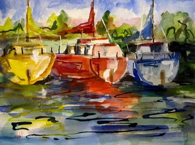 Art: Sail Boat Reflections by Artist Delilah Smith
