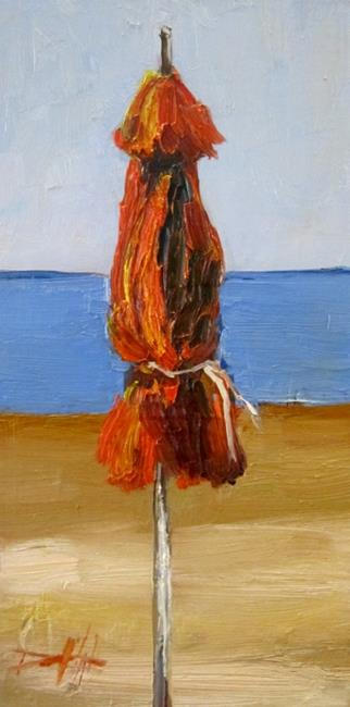 Art: Red Beach Umbrella by Artist Delilah Smith