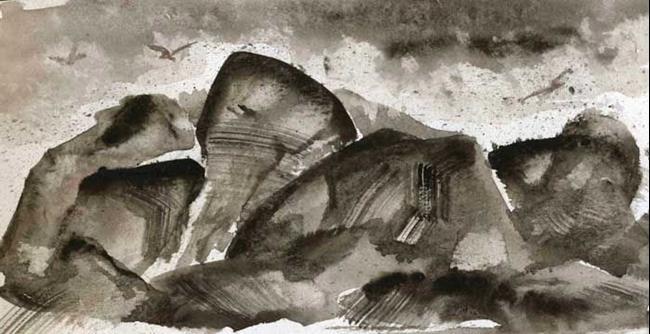 Art: Surf on Rocks by Artist Naquaiya