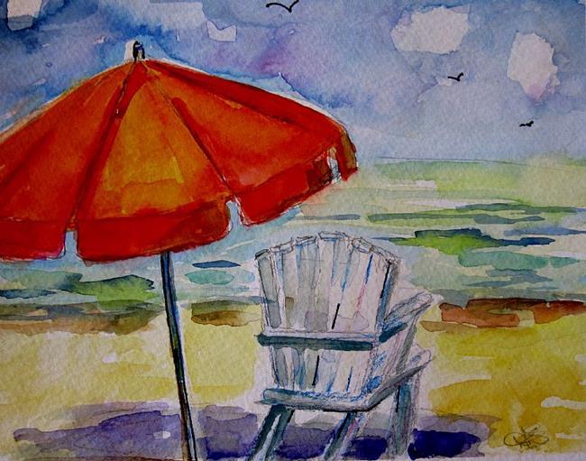 Art: Beach Umbrella by Artist Delilah Smith
