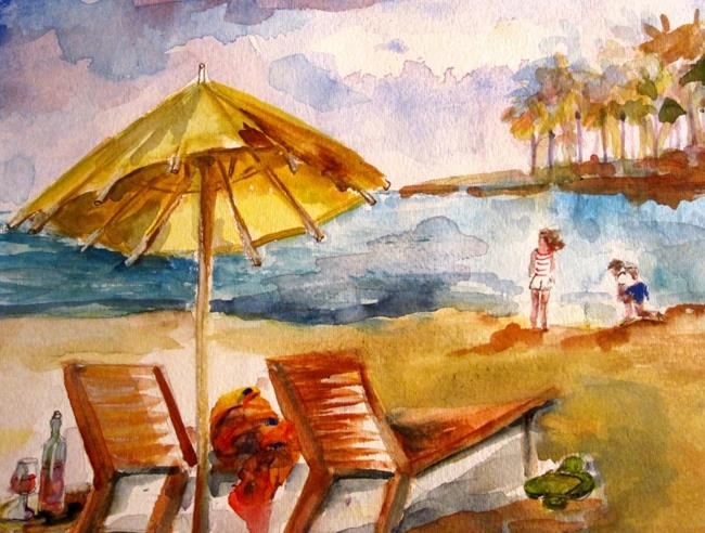 Art: Day at the Beach by Artist Delilah Smith