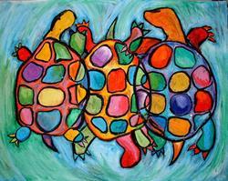 Art: Three Turtles on a  Swim by Artist Chris Jeanguenat