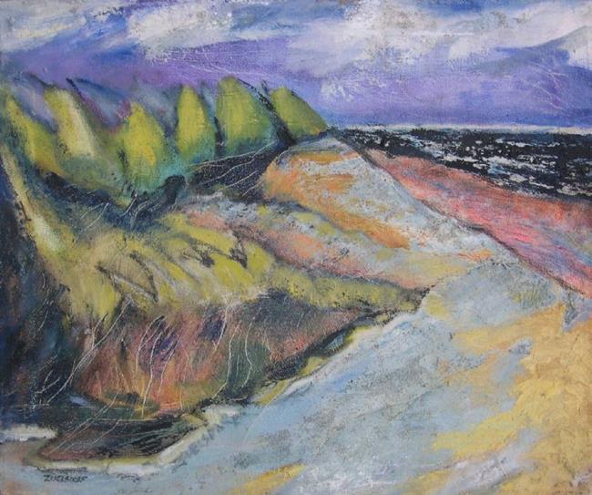 Art: Black Sea with Dunes by Artist Virginia Ann Zuelsdorf