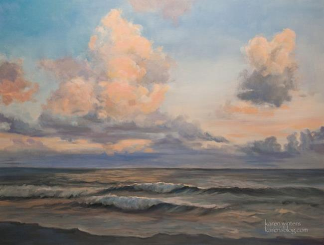 Art: Sailing Clouds Cambria Moonstone Beach California seascape oil painting by Artist Karen Winters