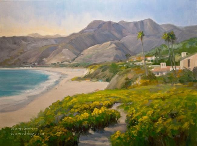 Art: Zuma Beach Malibu Pt. Dume Coreopsis Seascape oil painting by Artist Karen Winters