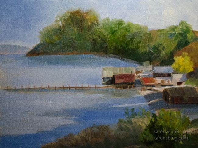 Art: China Camp plein air painting fishing village by Artist Karen Winters