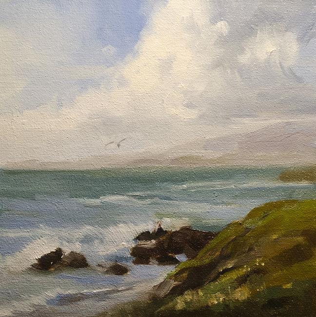 Art: Moonstone Beach, Cambria 6 x 6 oil painting SOLD by Artist Karen Winters