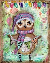 Art: Noel owl by Artist Betty Stoumbos