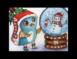 Art: chester's snowglobe by Artist Betty Stoumbos