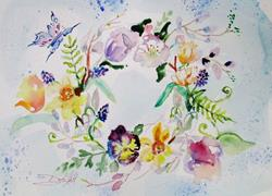 Art: Spring Wreath by Artist Delilah Smith