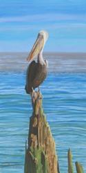 Art: Pelican On A Piling by Artist Carol Thompson