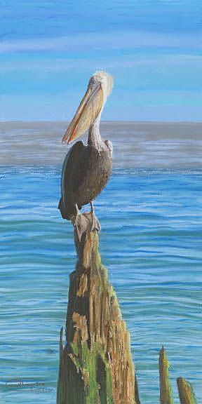 Art: Pelican On A Piling by Artist Carol Thompson