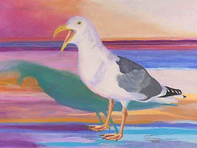 Art: Squawking Gull by Artist Carol Thompson