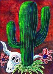 Art: Saguaro and Skull by Artist Christine Wasankari