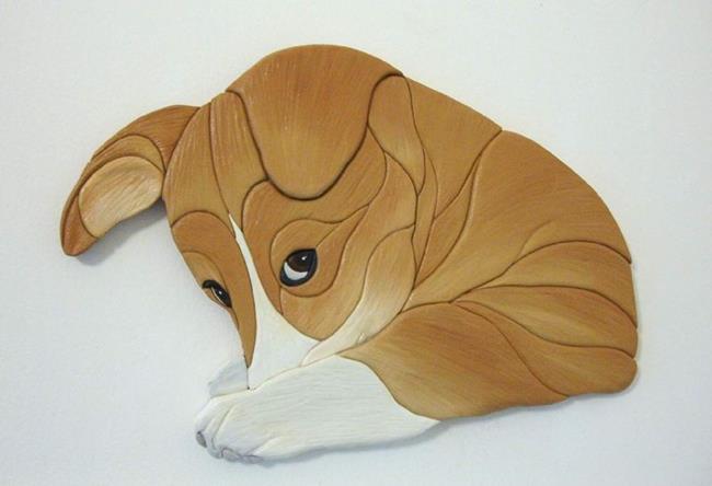 Art: Shy Corgi Original Painted Intarsia  Art by Artist Gina Stern