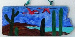 Art: Two flamingos flying on Bonaire by Beatrix Boekhoudt