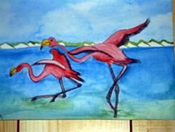 Art: Two flamingos take off by Beatrix Boekhoudt