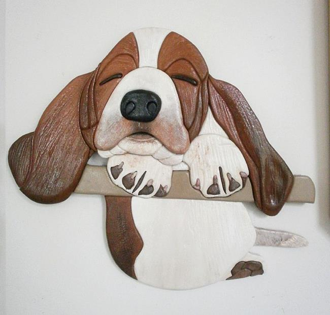Art: Sleepy Bassett Pup Original Painted Intarsia Art by Artist Gina Stern