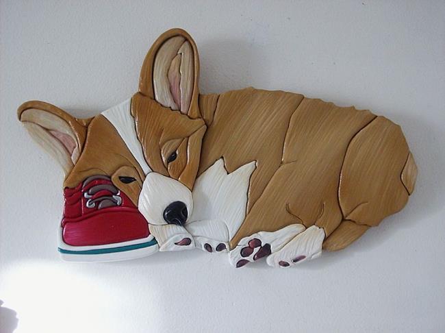 Art: Sleepy Corgi On Shoe Original Painted Intarsia Art by Artist Gina Stern