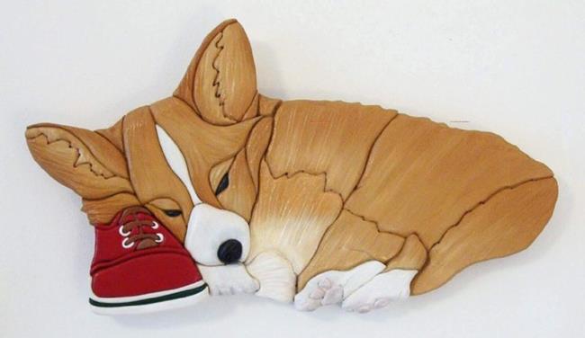 Art: Sleepy Corgi on Shoe Original Intarsia Painted Art by Artist Gina Stern