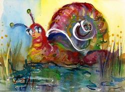 Art: Pond Snail by Artist Delilah Smith