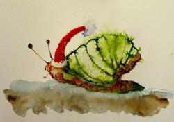 Art: Santa Snail by Artist Delilah Smith