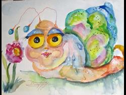 Art: Snail and Pink Flowers by Artist Delilah Smith