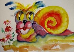 Art: Big Eyed Snail by Artist Delilah Smith