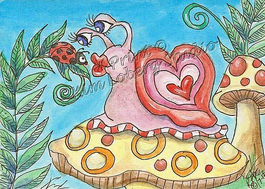 Art: Kiss Me You Fool! said the Snail to the Lady Bug by Artist Kim Loberg