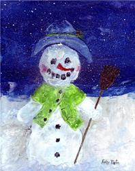 Art: Encaustic Snowman ( available in my ebay store ) by Artist Ulrike 'Ricky' Martin