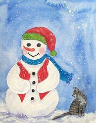 Art: Snowman with Kitty  (sold) by Artist Ulrike 'Ricky' Martin