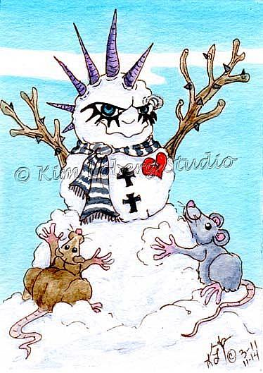 Art: Rats Building A Goth Snowman by Artist Kim Loberg