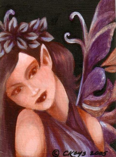Art: Violet Fairy ACEO by Artist Carmen Medlin