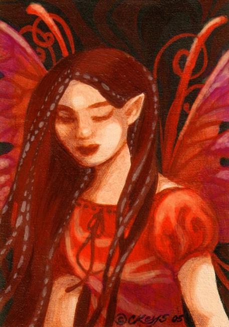 Art: Pensive Red ACEO by Artist Carmen Medlin