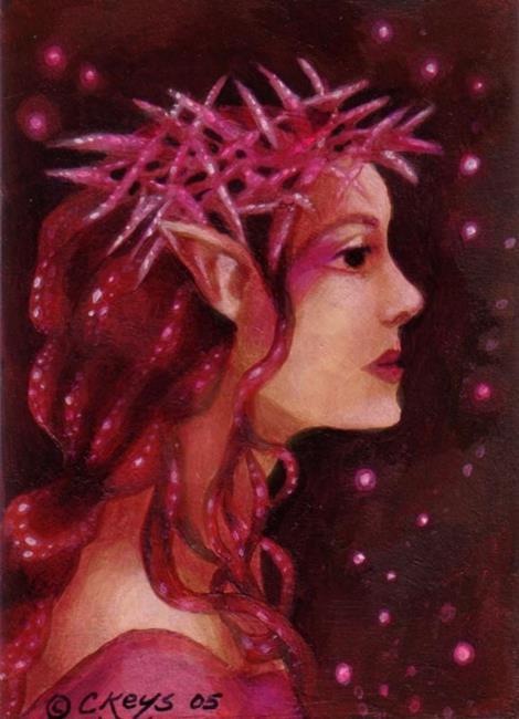 Art: Star Thistle Queen ACEO by Artist Carmen Medlin