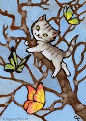 Art: Butterfly Tree ACEO by Artist Carmen Medlin