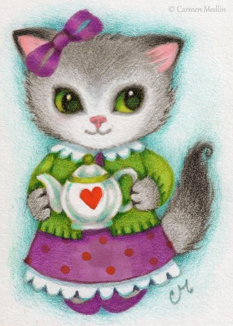 Art: Little Teapot ACEO by Artist Carmen Medlin