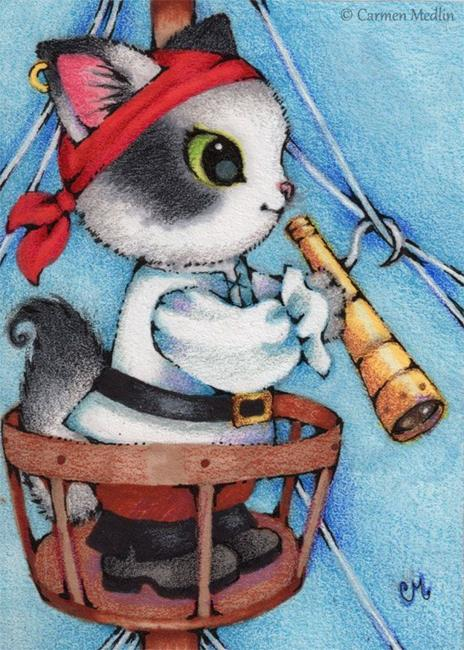 Art: Searching for Land ACEO by Artist Carmen Medlin