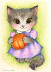 Art: Little Pumpkin ACEO by Artist Carmen Medlin