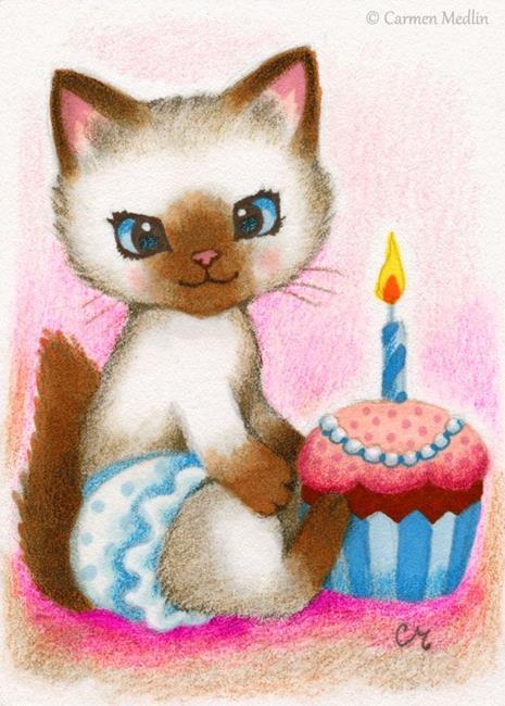 Art: Birthday Kitten ACEO by Artist Carmen Medlin