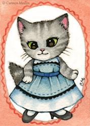 Art: Grumpy Stripes ACEO by Artist Carmen Medlin