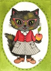 Art: Fluffy ACEO by Artist Carmen Medlin