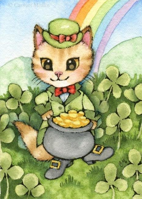 Art: Kitty Luck ACEO by Artist Carmen Medlin